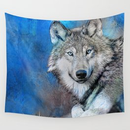 Blue Wolf Wildlife Mixed Media Art Wall Tapestry