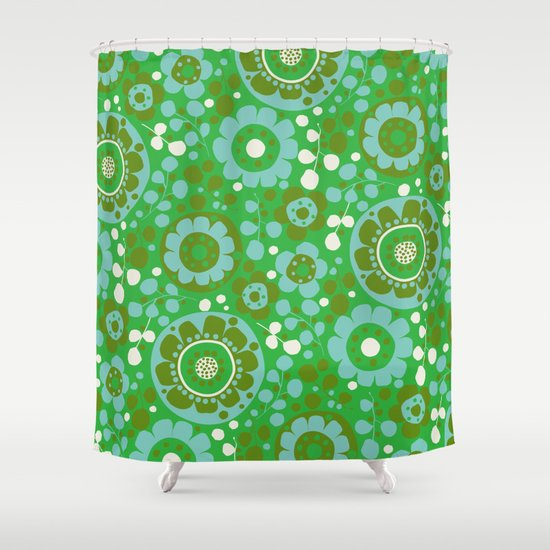 retro flower-olive Shower Curtain