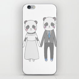 Wedding pandas, white background iPhone Skin