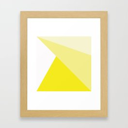 Simple Geometric Triangle Pattern - White on Yellow - Mix & Match with Simplicity of life Framed Art Print