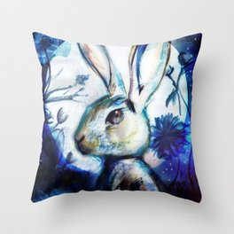 Moonlight Rabbit Throw Pillow