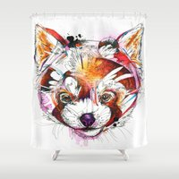 red panda Shower Curtains featuring Red Panda  by Abby Diamond