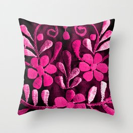 Hot Pink Mexican Flowers Throw Pillow