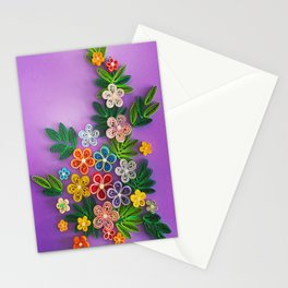 Vivid multicolour quilled flowers on lavender purple background Stationery Cards