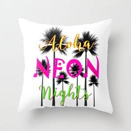 Aloha Neon Nights Hot Tropical Island Luau Party Throw Pillow