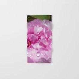 Pink Peony with Rain Drops Hand & Bath Towel
