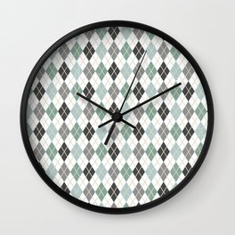 Argyle Blue Gray Diamonds Wall Clock