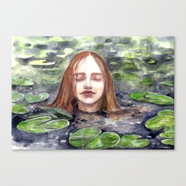Girl in a lake, watercolor Canvas Print