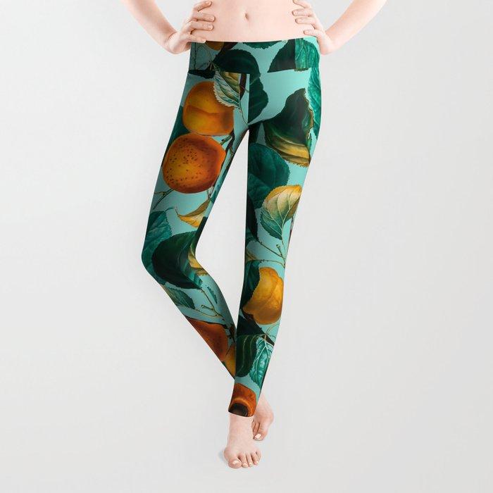 Peach and Leaf Pattern Leggings
