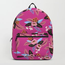 Magenta Floral Patern Backpack