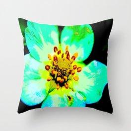 Solarized Strawberry Flower Throw Pillow