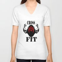 crossfit V-neck T-shirts featuring CROSSFIT 1 by Robleedesigns
