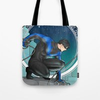 nightwing Tote Bags featuring Nightwing Nouveau by stoopz