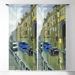 Cityscape, the street after the rain. Blackout Curtain