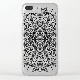 Moroccan Mandala – Black Ink Clear iPhone Case