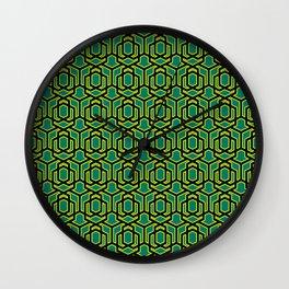 Retro Geometric Pattern 004 - green, black Wall Clock