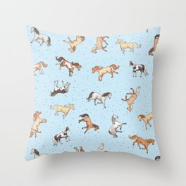 Scattered Horses spotty on light blue pattern Throw Pillow