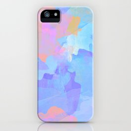 Cheerful abstract digital painting in blue, purple, orange and pink colors. iPhone Case