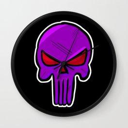 Skull Face - Purple War Wall Clock