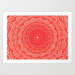 Spiral Mandala (RED) Curve Round Rainbow Pattern Unique Minimalistic Vintage Zentangle Art Print