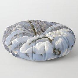 Snow on tree Floor Pillow