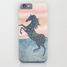 Rearing Horse in the Morning Sunrise - Ornamental Gold Theme iPhone Case