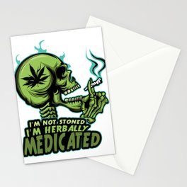 A Unique Detailed Marijuana Tee For Yourself? T-shirt For You I'm Not Stoned I'm Herbally Medicated Stationery Cards