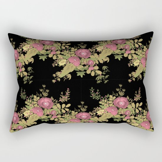 Colorful floral pattern on a black background . Rectangular Pillow