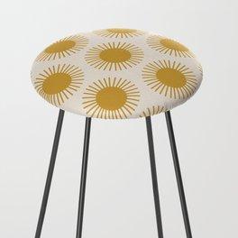 Golden Sun Pattern Counter Stool