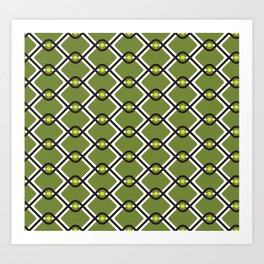 1960's Inspired Green, Yellow, Black and White Pattern Art Print