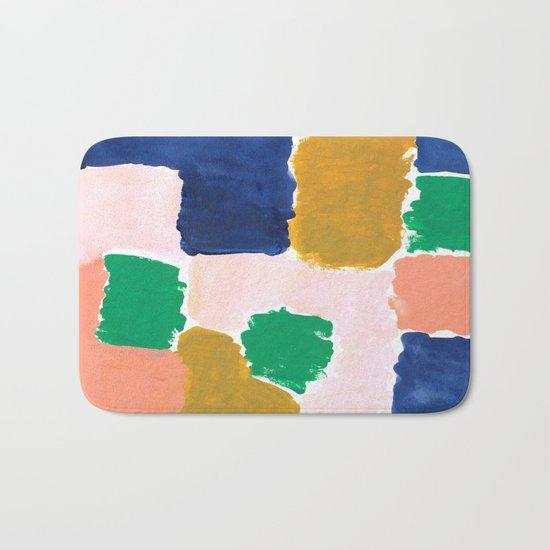 Shel - abstract painting boho modern bright minimal color palette gender neutral dorm college decor Bath Mat