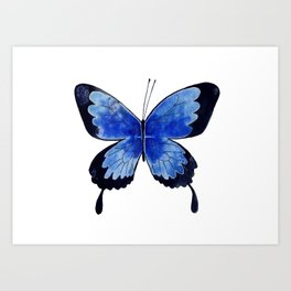 Blue Butterfly watercolor painting Art Print