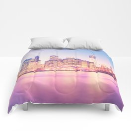 New York City Skyline - Lights Comforters