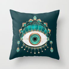 Teal Eye Throw Pillow