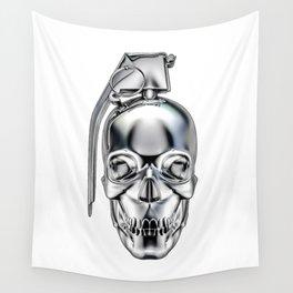 Skull grenade silver Wall Tapestry