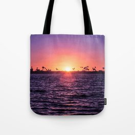 Mission Bay Palm Tree Sunset in San Diego, California Tote Bag