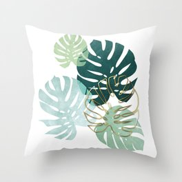Tropical minimal / green, turquoise and gold monstera Throw Pillow
