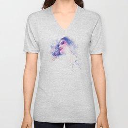 Blue Profile Girl Sketch Unisex V-Neck