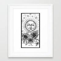 tarot Framed Art Prints featuring Sun Tarot by Corinne Elyse