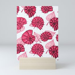 Pink Snails And Leaves Ink Drawn Pattern Mini Art Print