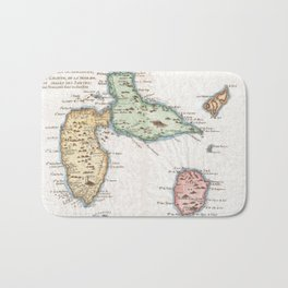Vintage Map of Guadeloupe (1780) Bath Mat