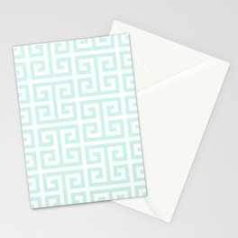 Light Mint and White Greek Key Pattern Stationery Cards