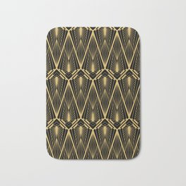 Art Deco Squares and Diamonds of Gold Bath Mat