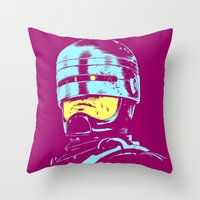 robocop Throw Pillows featuring Robocop (neon) by Liam Brazier