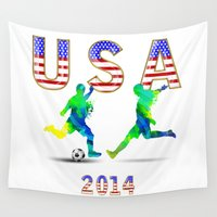 usa Wall Tapestries featuring USA by Robin Curtiss