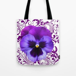 LILAC PURPLE PANSY SPRING FLORAL PATTERN Tote Bag