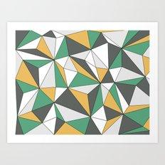 Geo - orange, green, gray and white. Art Print