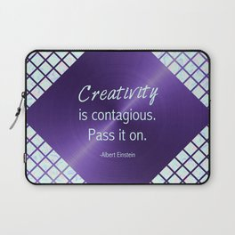 Ultra Violet & Iridescent Quote - Creativity is Contagious Laptop Sleeve