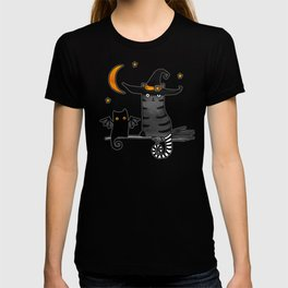 Magic Whitch cat in a hat and her black cat-bat for Halloween T-shirt