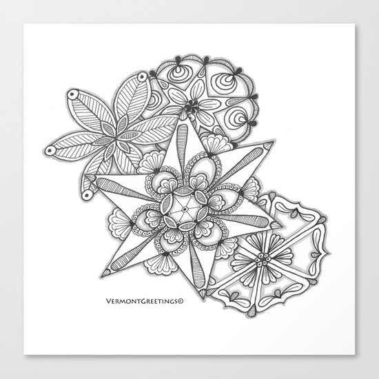 Vermont Zentangle Snow Flakes Illustration Canvas Print
